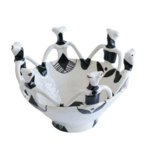 Handmade Ceramic Ubuntu Bowl black on white glaze with 6Lady clay figures