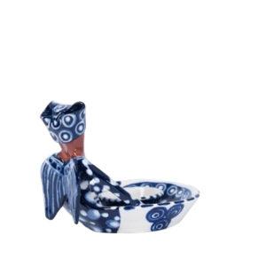 Ceramic Handmade tiny Sweetie Dish 1 African Angel Dark Blue on Stoneware