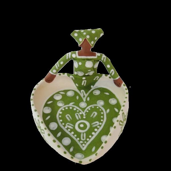 Handmade Ceramic Heart Bowl Green glaze on white stoneware 1Lady figure