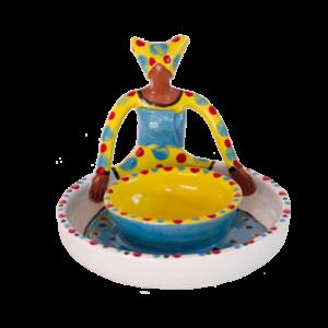 Ceramic Handmade Olive Bowl 1 African Lady figure bright glaze on white stoneware