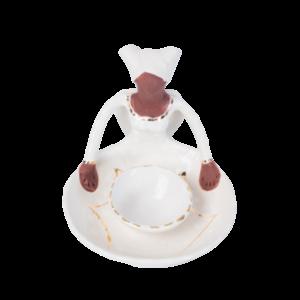 Ceramic Handmade Olive Bowl 1 African Lady figure white and gold glaze on white stoneware