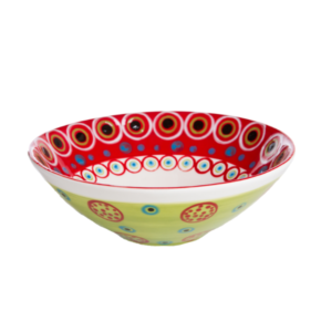 Medium handmade salad bowl made from stoneware clay handpainted with bright patterns and colours