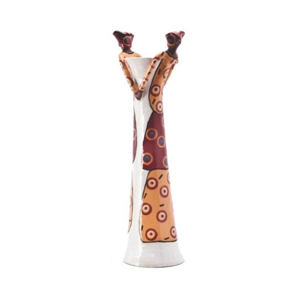 Ceramic Handmade 2 African Lady figures vase bright glaze on white stoneware