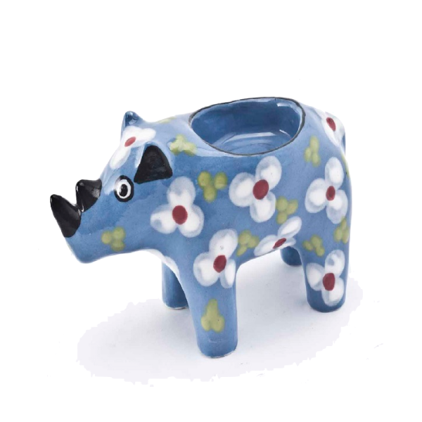 Handmade ceramic rhino tealight holder slipcast from clay and painted with vibrant patterns and colours
