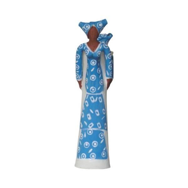 Ceramic Handmade 2 African Lady figures vase electric blue glaze on white stoneware