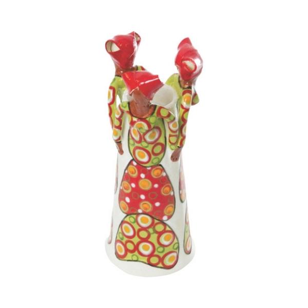 Ceramic Handmade 3 African Lady figures vase bright glaze on white stoneware
