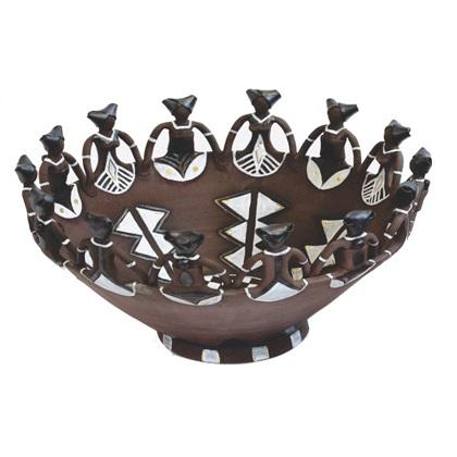 Handmade Ceramic Ubuntu Bowl Metallic Glaze Charcoal clay 14Lady figures