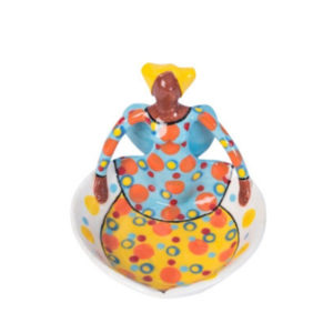 Handmade Ceramic Angel Heart Dish bright glaze on stoneware clay 1angel figure