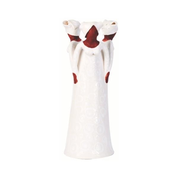 Ceramic Handmade 3 African Lady figures vase white glaze on white stoneware