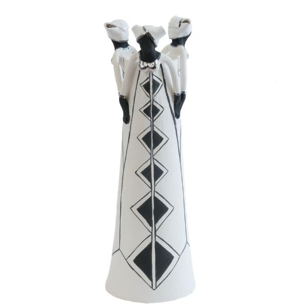 Ceramic Handmade 3 African Lady figures vase black glaze on white stoneware