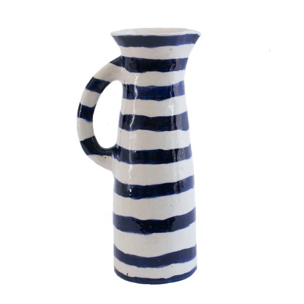 Handmade Tall Striped Ceramic Jug: Black Stripes on White