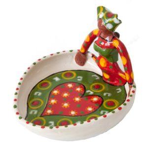 Handmade Ceramic Ubuntu Bowl Bright glaze on white stoneware 1Lady figure