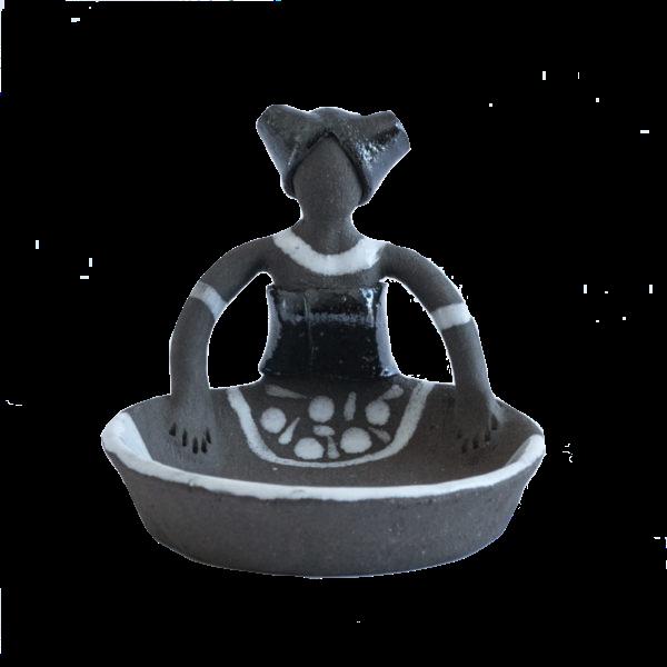 Ceramic Handmade tiny Ubuntu Bowl 1 African Lady figure charcoal clay metallic glaze