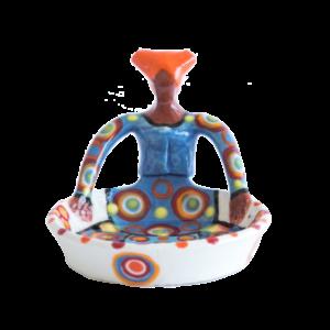Handmade Ceramic Tiny Ubuntu Bowl bright on white glaze with 1Lady clay figure