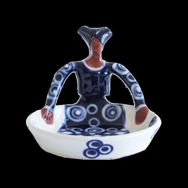 Handmade Ceramic Tiny Ubuntu Bowl indigo on white glaze with 1Lady clay figure