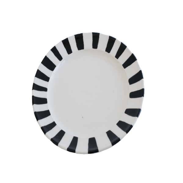 Large Hand-painted Ceramic Platter with Black Stripes on White