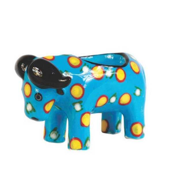 Handmade ceramic elephant tealight holder slipcast from clay and painted with vibrant patterns and colours