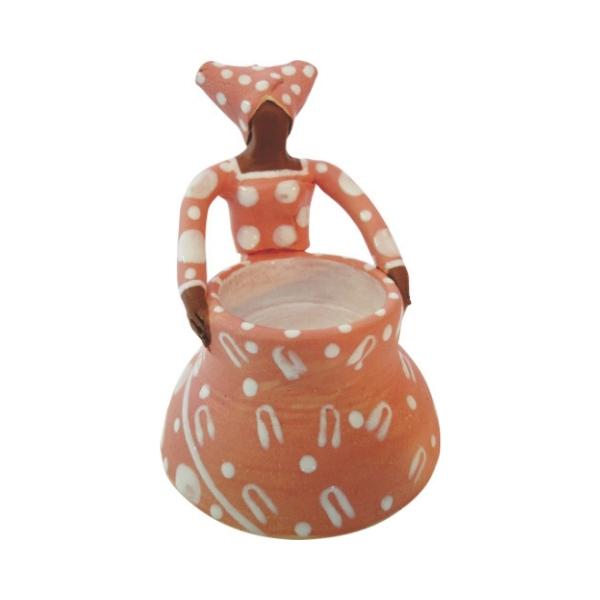Ceramic Handmade 1 African Lady figure vase bright glaze on white stoneware