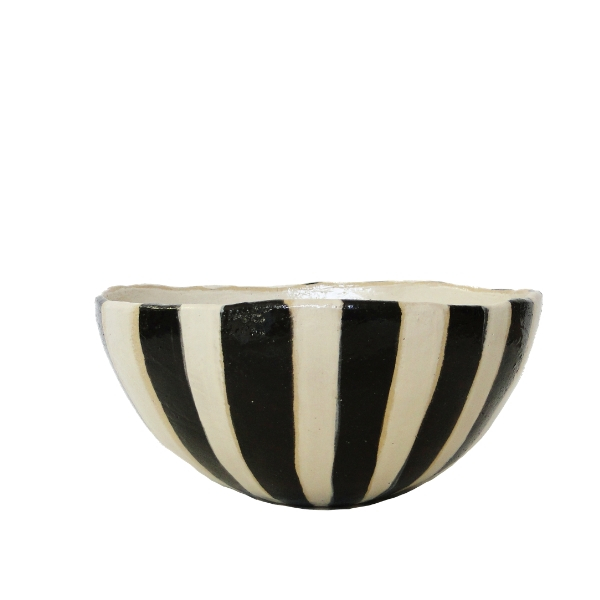 Hand-painted Large Ceramic Salad Bowl with Black Stripes on White