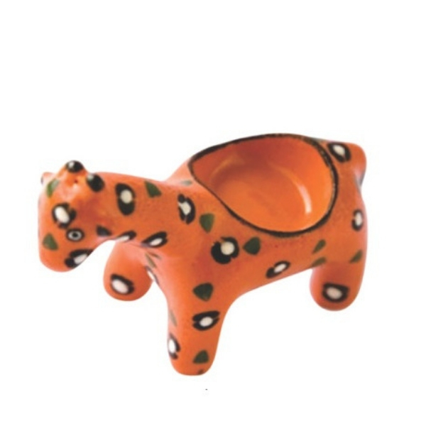 Handmade ceramic giraffe tealight holder slipcast from clay and painted with vibrant patterns and colours