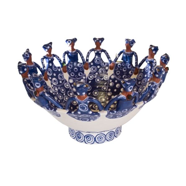 Handmade Ceramic Ubuntu Bowl dark blue on white glaze with 12Lady clay figures