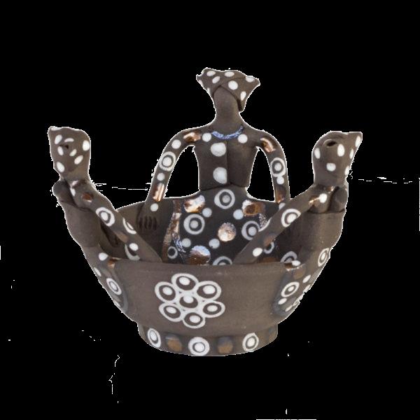 Ceramic Handmade Ubuntu Bowl 3Lady African Figures Charcoal Clay Metallic Glaze