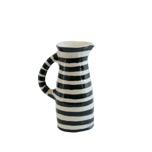 Handmade Medium Striped Ceramic Jug: Black Stripes on White