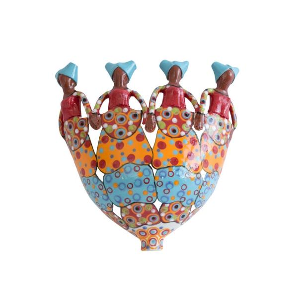 Handmade ceramic 4Lady Planter painted with bright glaze on stoneware clay
