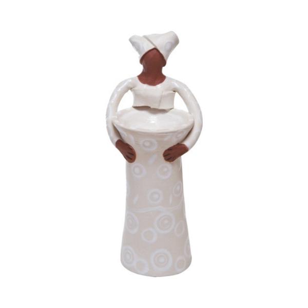 Ceramic Handmade 1 African Lady figure vase white glaze on white stoneware