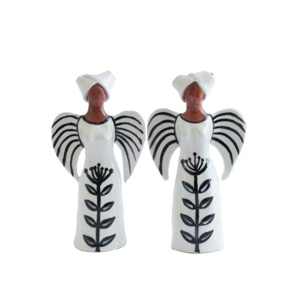 Handmade Ceramic Standing Angel in Xhosa headdress black glaze on white stoneware