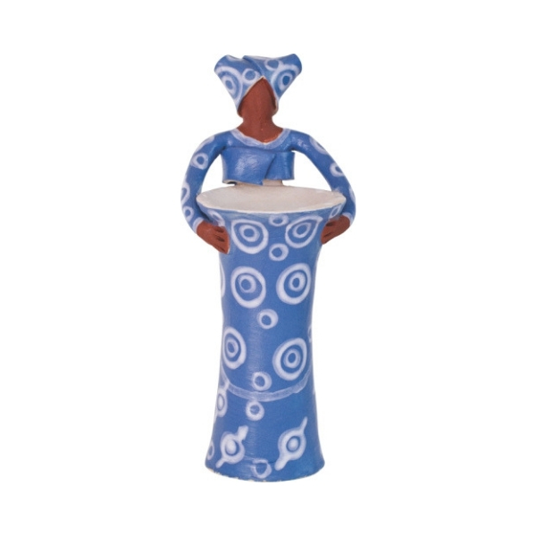 Ceramic Handmade 1 African Lady figure vase cornflower blue glaze on white stoneware