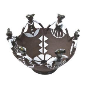 Ceramic Handmade Ubuntu Bowl 6 African lady figures Charcoal Clay Metallic Glaze
