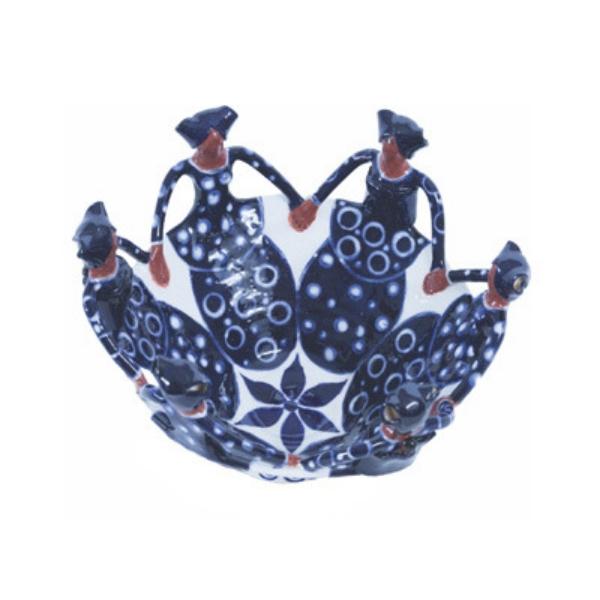 Handmade Ceramic Ubuntu Bowl dark blue on white glaze with 6Lady clay figures