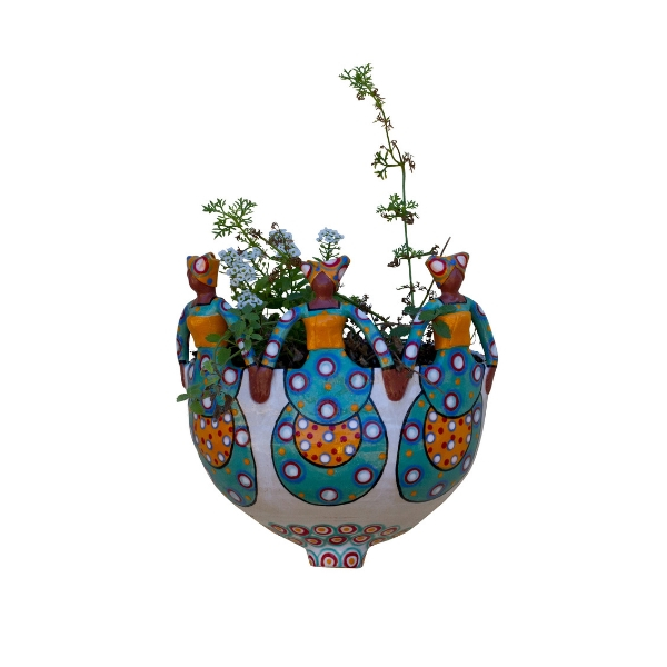 Handmade ceramic 3Lady Planter painted with bright glaze on stoneware clay