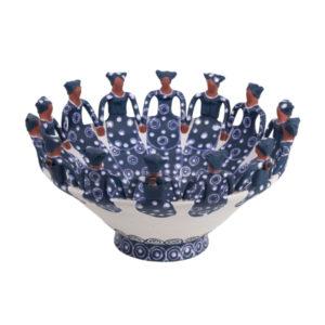 Handmade Ceramic Ubuntu Bowl Indigo Glaze Stoneware clay14lady figures