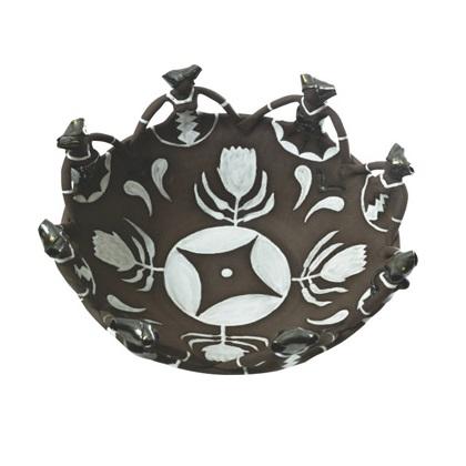 Ceramic Handmade Ubuntu Bowl 8 African Lady figures Charcoal clay Metallic Glaze