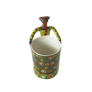 Handmade ceramic 1Lady Pencil Holder painted with bright glaze on stoneware clay