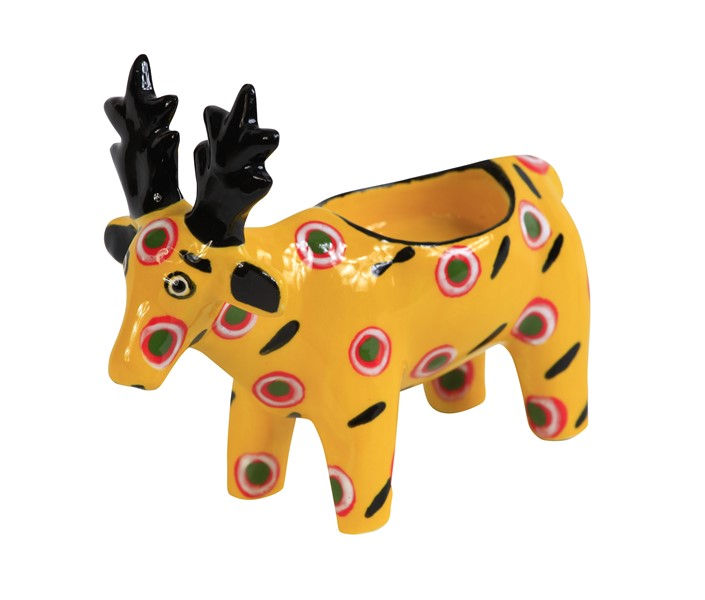 Handmade ceramic reindeer tealight holder slipcast from clay and painted with vibrant patterns and colours