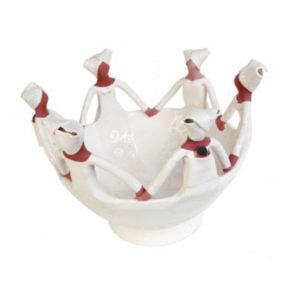 Handmade Ceramic Ubuntu Bowl white on white glaze with 6Lady clay figures