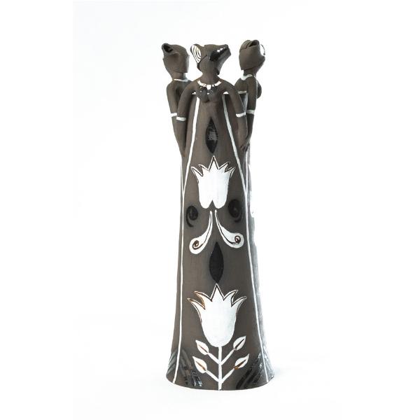 Handmade Tall Ceramic Vase Charcoal clay Metallic glaze 3 clay lady figures