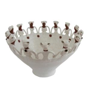 Handmade Ceramic Ubuntu Bowl White glaze on white stoneware 14Lady figures