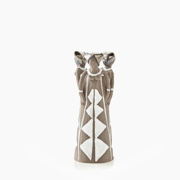 Ceramic Handmade 3 African Lady figures vase metallic glaze on charcoal stoneware
