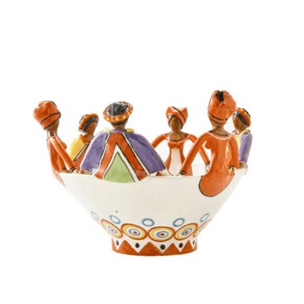 Handmade Ceramic 6Lady Women of Africa Bowl: Ndebele & Xhosa