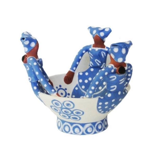 Handmade Ceramic Ubuntu Bowl Cornflower Blue on white glaze with 3Lady clay figures