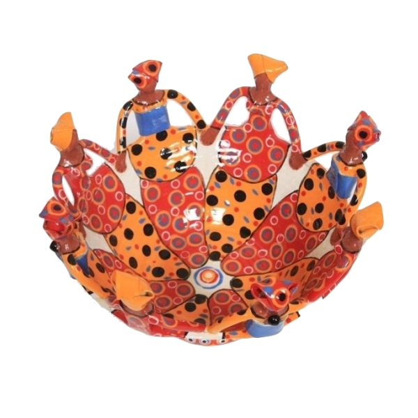 Handmade Ceramic Ubuntu Bowl bright on white glaze with 8Lady clay figures