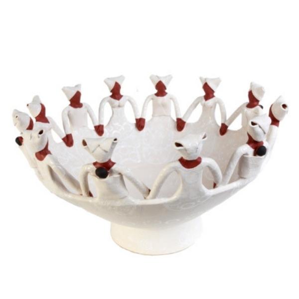 Handmade Ceramic Ubuntu Bowl white on white glaze with 12Lady clay figures
