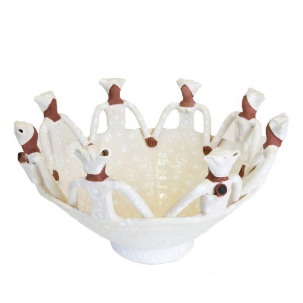 Handmade Ceramic Ubuntu Bowl white on white glaze with 8Lady clay figures