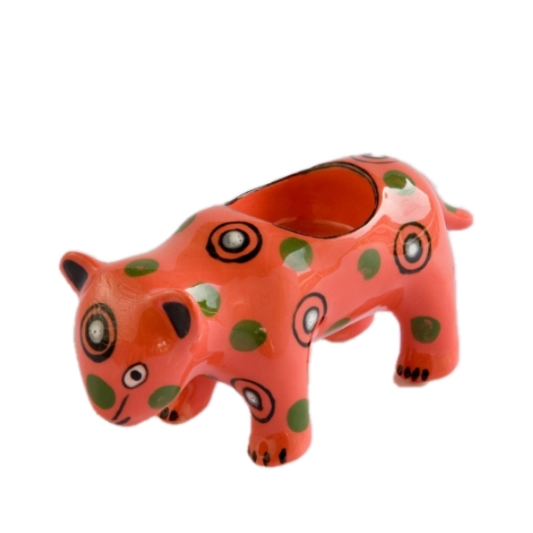Handmade ceramic leopard tealight holder slipcast from clay and painted with vibrant patterns and colours