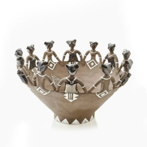 Ceramic handmade Ubuntu Bowl12Lady Figures Charcoal Clay Metallic Glaze