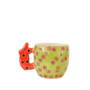 Handmade Ceramic Mug with Ele painted with bright glazes